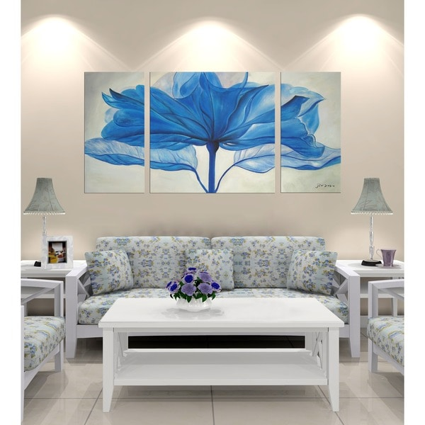 Hand Painted Blue Flower Gallery Wrapped 3 Piece Art Set