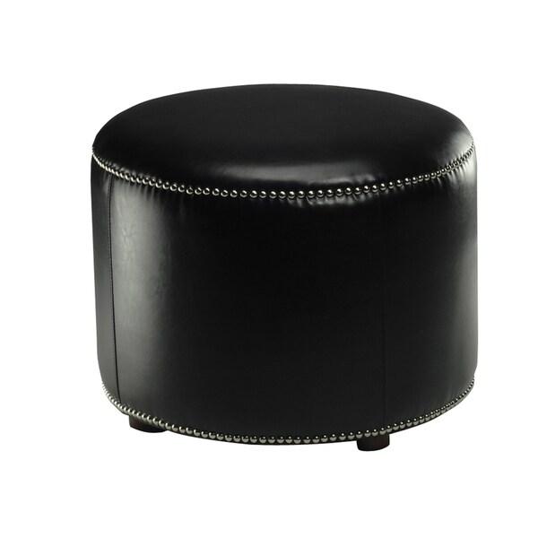 Safavieh Florentine Storage Black Bicast Leather Round