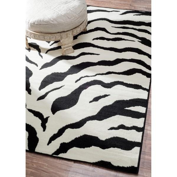 Nuloom Zebra Animal Print Black Ivory Rug 4 X 5 7