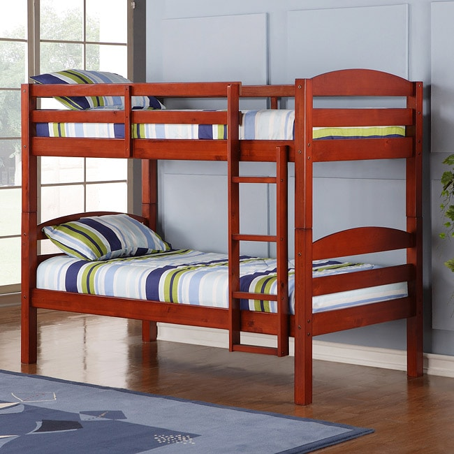 Solid Wood Cherry Twin Twin Bunk Bed Overstock Shopping