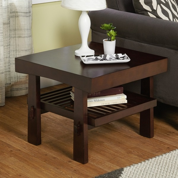 Japanese End Table Wood Accent Stand Modern Lamp Furniture