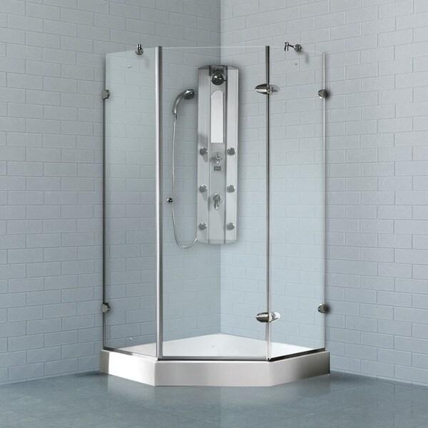 Bathroom Doors Waterproof: VIGO Waterproof Frameless Neo-Angle 3/8-Inch Clear Shower