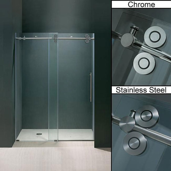 Vigo 60 Inch Clear Glass Frameless Sliding Shower Door