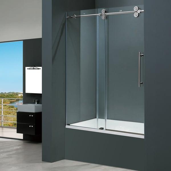 Bathroom Shower Sliding Doors: Vigo 60-inch Clear Glass Frameless Tub Sliding Door
