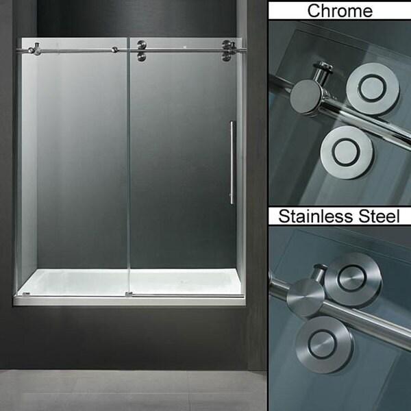 Vigo 60 Inch Clear Glass Frameless Tub Sliding Door