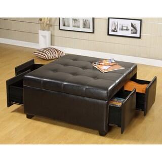 Furniture Of America Kaya Bicast Leather Ottoman Sleeper