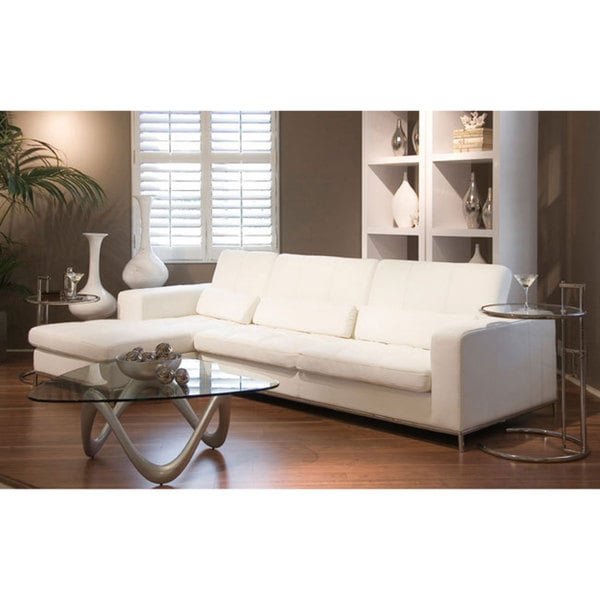Riviera White Leather Sectional Sofa 12651587