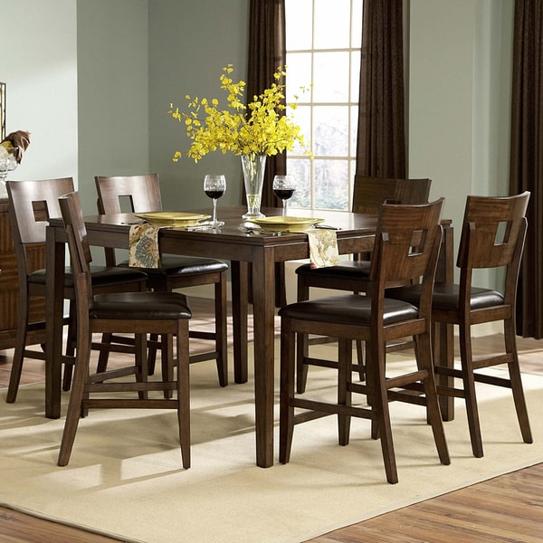 Tribecca Home Watson Open Back Casual Dining Chairs Set: TRIBECCA HOME Watson Warm Brown 7-piece Counter Height