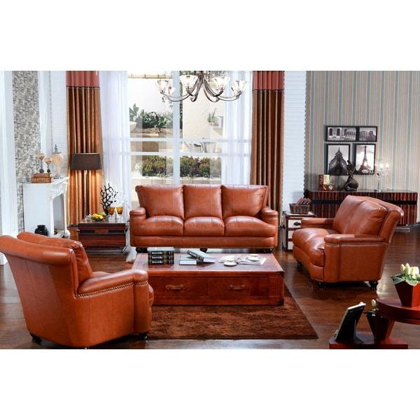 Pecan Top Grain Leather Sofa Set
