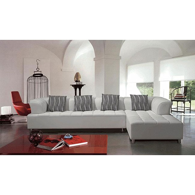 Marthena 2 Piece White Leather Sectional Sofa With Ottoman