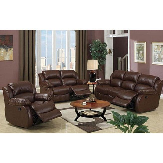 Malibu 8-piece Brown Bonded Leather/ Hardwood Living Room