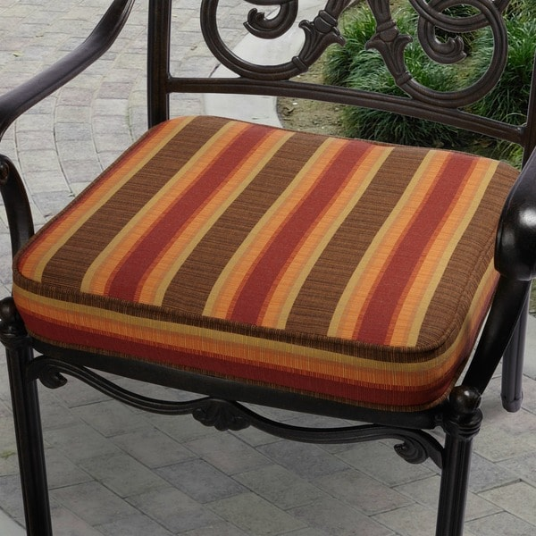 Indoor Outdoor 19 Inch Striped Chair Cushion With