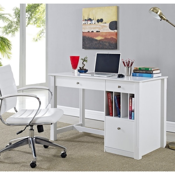Overstock Office Furniture: Deluxe White Wood Computer Desk