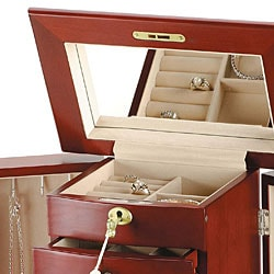 Wooden Jewelry Box with Lock and Key - Overstock Shopping ...