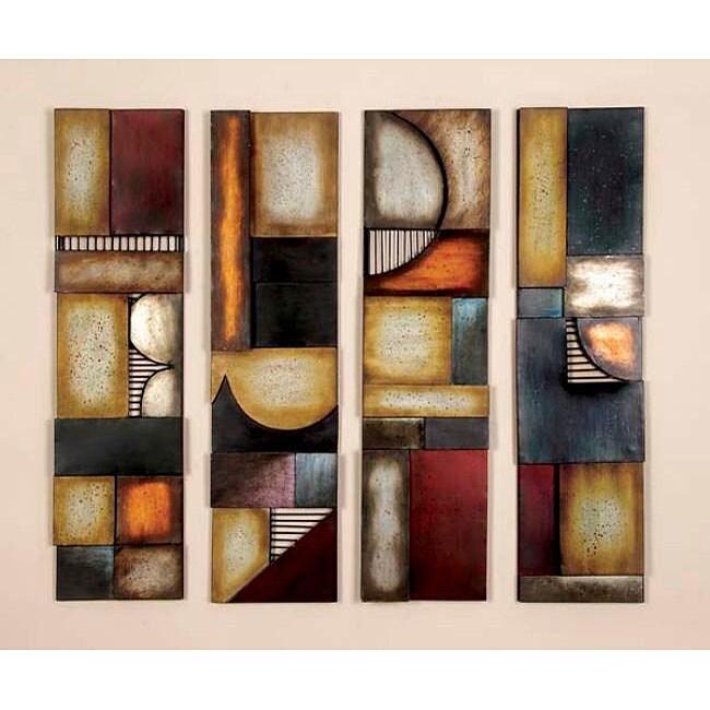 geometric multicolor metal abstract wall art decor plaques set of 4 12731036. Black Bedroom Furniture Sets. Home Design Ideas