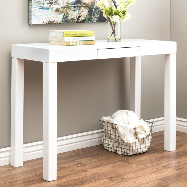 Lachlan Glossy White Sofa Table 12737281 Overstock Com