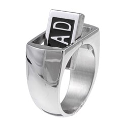 Stainless Steel Reversible Dad Diamond Accent Ring