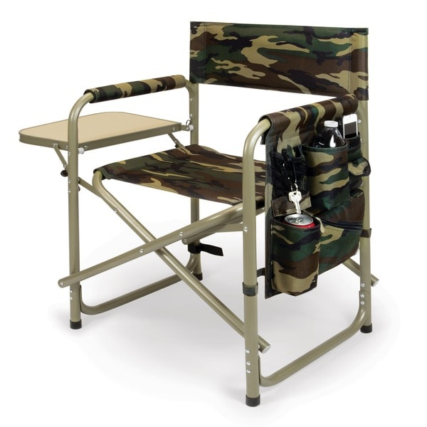 Picnic Time Camouflage Folding Sports Chair With Side