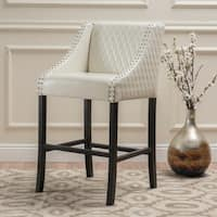 Milano 28-inch Quilted Ivory Bonded Leather 28-inch Barstool by Christopher Knight Home