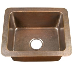 Small Single-bowl Drop-in Antique Copper Kitchen Sink - Thumbnail 0