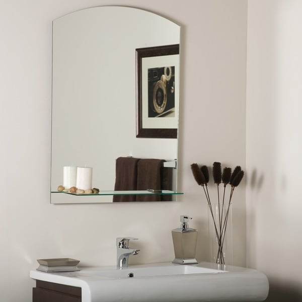 Overstock Mirrors: The Arch Frameless Mirror With Shelf