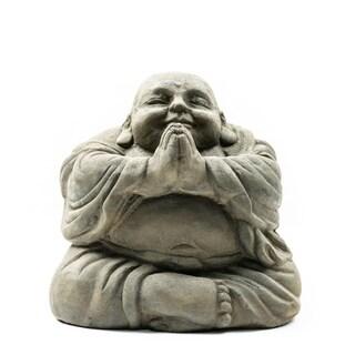 Stone Small Happy Buddha Praying Antique Indonesia