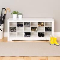 The Gray Barn Waggoner White Shoe Storage Cubbie Bench