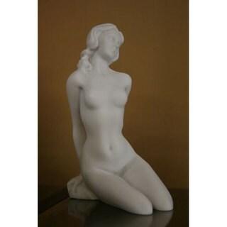 White Bonded Marble Aphrodite Posing Nude Statue