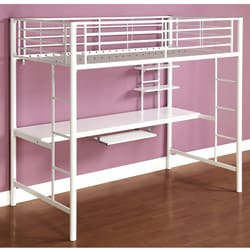 White Metal Twin Workstation Bunk Bed 12942795