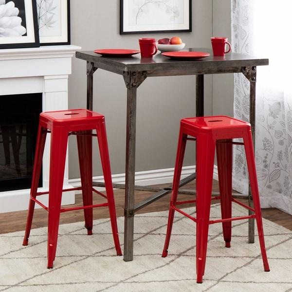 Tabouret 30 Inch Red Metal Bar Stools Set Of 2