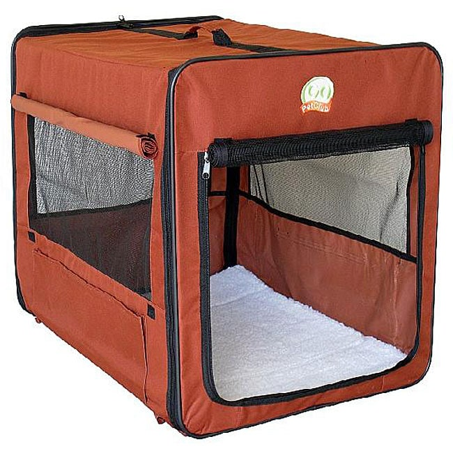 Brown 43 Inch Portable Nylon Folding Soft Dog Crate With