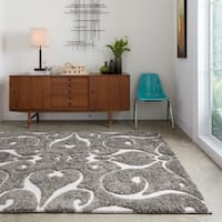 Mid-century Grey/ Taupe Scroll Shag Area Rug - 3'10 x 5'7