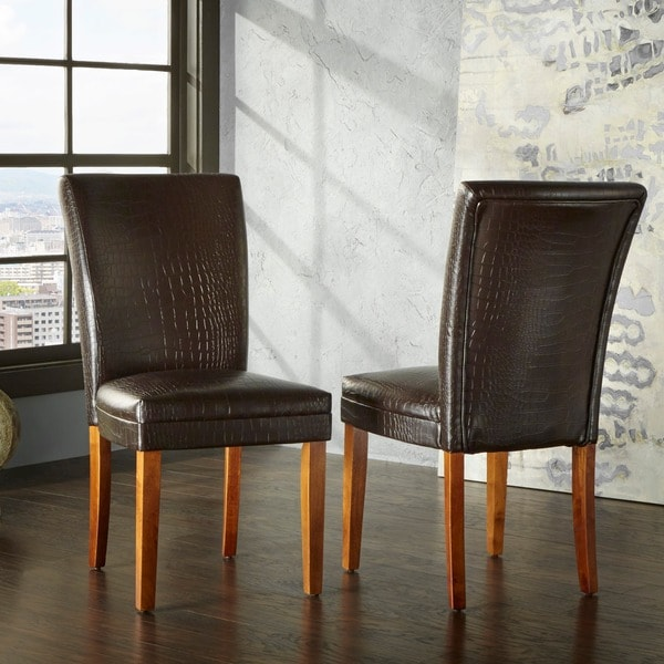 TRIBECCA HOME Decor Faux Alligator Print Dining Chair (Set