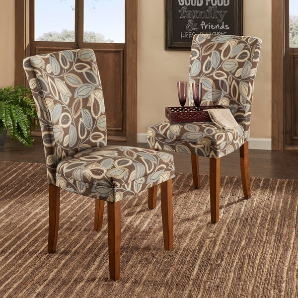 TRIBECCA HOME Leaf Print Accent Parson Side Chairs (Set Of