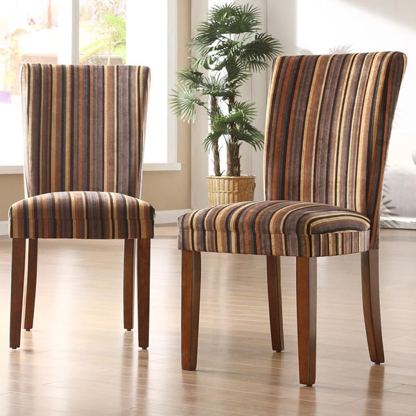 TRIBECCA HOME Brown Stripe Print Parson Side Chairs (Set