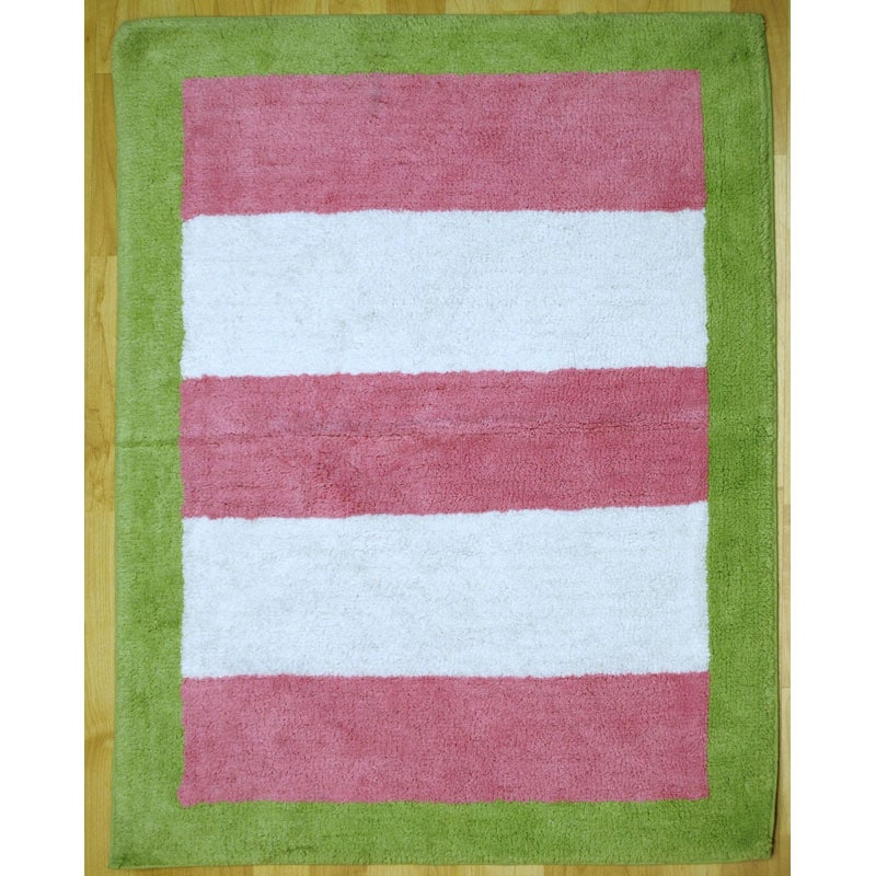 Baby Pink Bathroom Rugs: My Baby Sam Paisley Splash In Pink And Lime Striped Rug