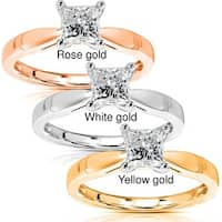 Annello by Kobelli 14k Gold 1/2 Carat Princess Diamond Solitaire Engagement Ring