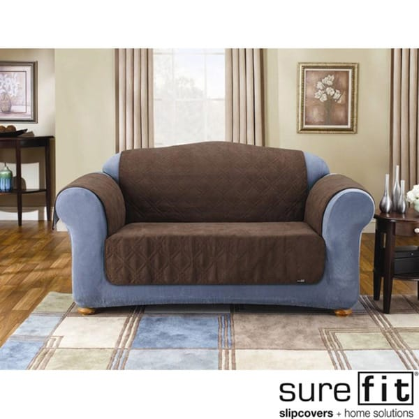 Sure Fit Quilted Suede Chocolate Loveseat Pet Throw
