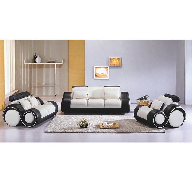 3 Piece Leather Sofa: Black/ White Modern 3-piece Leather Sofa Set