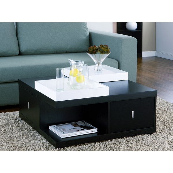 Sofa Server Tray Table: Mareines Black Coffee Table Serving Trays Furniture Modern