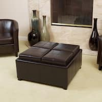 Mason Bonded Leather Espresso Tray Top Storage Ottoman by Christopher Knight Home