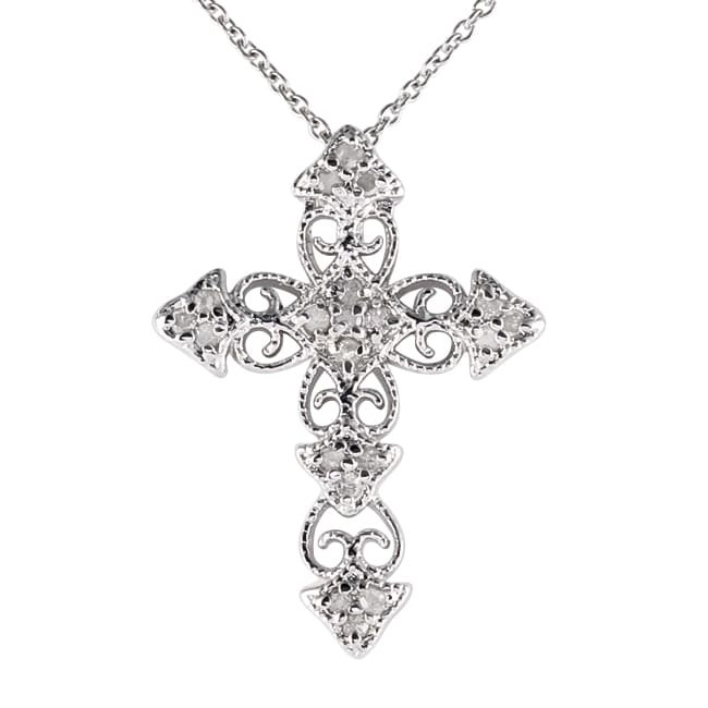 426da8c11 Victoria Kay Sterling Silver 1/10ct TDW Diamond Vintage Cross Necklace