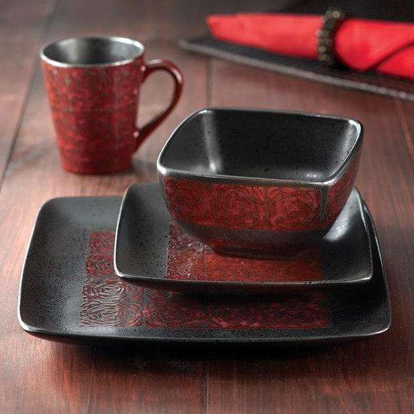 American Atelier Yardley Red Glaze 16 Piece Dinnerware Set