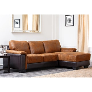 Abbyson Living Beverly Two Tone Brown Fabric Sectional