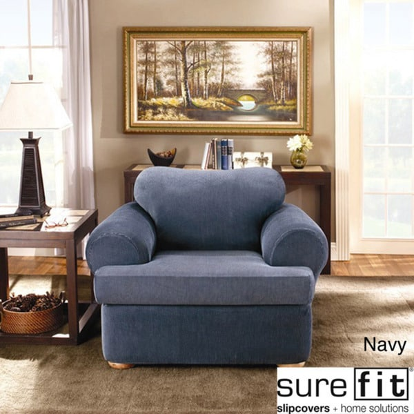 Sure Fit Stretch Stripe 2 Piece T Cushion Chair Slipcover