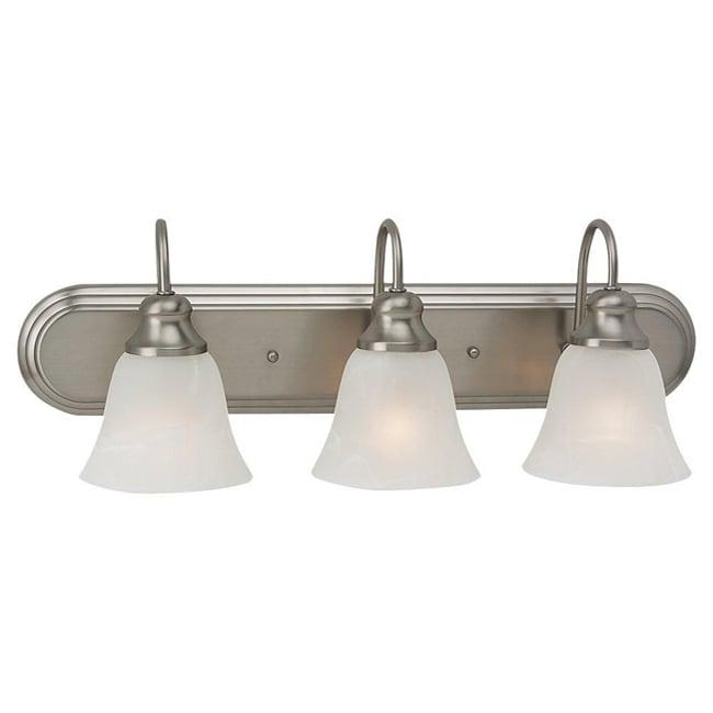Windgate 3 light brushed nickel fluorescent bath wall - Fluorescent bathroom lighting fixtures ...