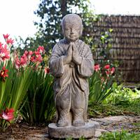 Stone Standing Buddha Monk Sculpture, Handmade in Indonesia