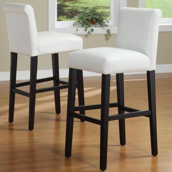 Inspire Q Bennett White Faux Leather 29 Inch Bar Stools