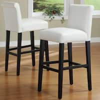 Bennett White Faux Leather 29-inch High Back Bar Stools (Set of 2) by iNSPIRE Q Bold