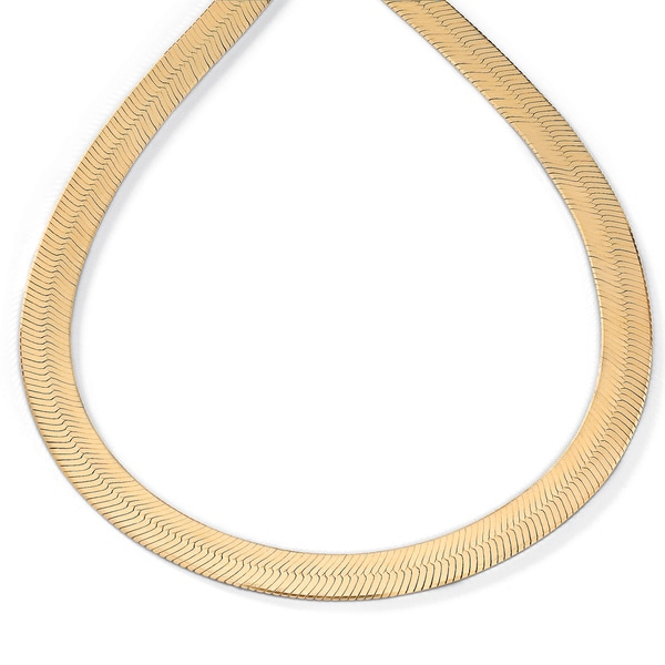 16 Inch Gold Herringbone Necklace: PalmBeach 18k Yellow Gold Over Sterling Silver 18-inch